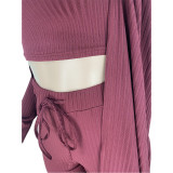 Solid Ribbed Tank Top+Long Cloak+Pants 3 Piece Sets ARM-8312