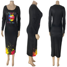 Plus Size Lip Print Long Sleeve Midi Dress NYMF-246