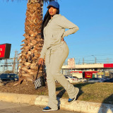 Solid Fleeced Hoodie Pile Pants Two Piece Sets HHF-9100