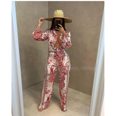 Retro Print Shirt Top And Pants Two Piece Sets CY-6529