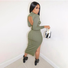 Sexy Backless Long Sleeve Split Slim Midi Dress YBSF-86742