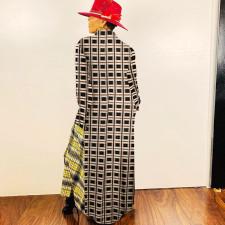 Casual Plaid Patchwork Full Sleeve Long Shirt Dress SZF-6031