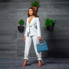 Solid Sashes Blazer Ankle-Tie Pants 2 Piece Suits WPF-80398