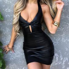 Sexy PU Leather Halter Backless Club Dress FL-JY21388