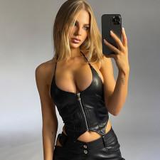 Black PU Leather Halter Zipper Crop Top FL-ML21029