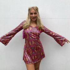 Sexy V Neck Long Sleeve Mini Dress FL-LS21340