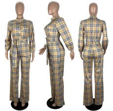 Plus Size Plaid Long Sleeve Sashes Jumpsuit LSL-6476