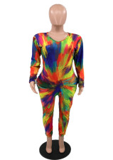 Plus Size Printed Long Sleeve V Neck Jumpsuit HBF-4049