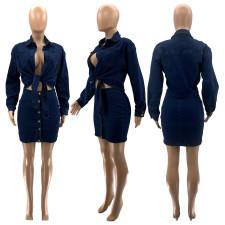 Denim Bow-Tie Blouse Top Mini Skirt 2 Piece Sets SZF-1005