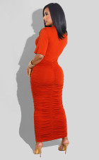 Sexy Fashion Solid Color Ruched Dress FSXF-288