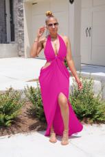 Sexy Solid Color Halter Slit Long Dress FSXF-190