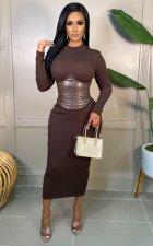 PU Leather Patchwork Back Zipper Slim-Waist Midi Dress WY-6860