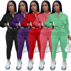 Solid Baseball Jacket And Pants Two Piece Sets YIM-224