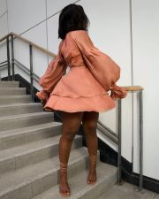 Sexy V Neck Lantern Sleeve High Waist Mini Dress LSD-81067
