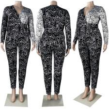 Plus Size Fashion Print Long Sleeve Jumpsuit FSXF-282