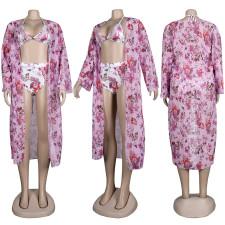 Sexy Print Bikini Swimsuit Beach Cloak Three Piece Set FSXF-290