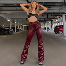 PU Leather Mid-Waist Casual Pants FL-CC21035