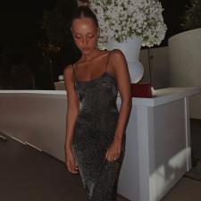 Shiny Sexy Backless Spaghetti Strap Split Evening Dress FL-CC21023