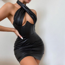 PU Leather Sexy Halter Hollow Out Club Dress FL-CC21024