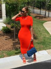 Simple Casual Fashion Solid Color Dress FSXF-276