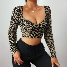 Sexy Leopard Long Sleeve Slim Crop Top FL-HY21333