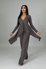 Solid V Neck Long Sleeve Irregular 2 Piece Pants Set YS-8829