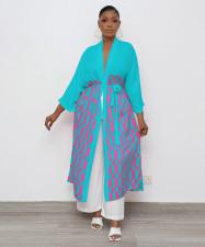 Geometric Print Casual Loose Sashes Long Cloak Coat OY-6313