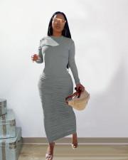 Solid O Neck Long Sleeve Ruched Slim Maxi Dress SHA-86273