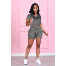 Casual Solid Color Short Sleeve Shorts Two Piece Sets FSXF-272