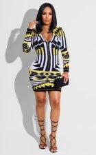 Sexy Slim Print Long Sleeve Mini Dress FSXF-302