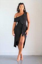 Irregular Oblique Shoulder Split Dress FSXF-118