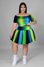 Plus Size Print Short Sleeve And Skirt 2 Piece Sets FSXF-292