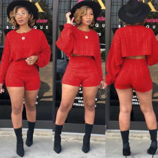 Sexy knitted Sweater Long Sleeve Shorts Two Piece Sets FSXF-67