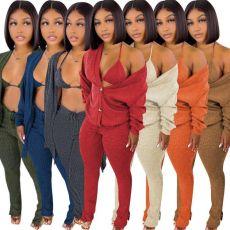 Solid Ribbed Bra Top+Cloak Coat+Split Pants 3 Piece Sets MOF-6659