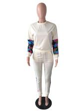 Plus Size Camo Patchwork Sweatshirt 2 Piece Pants Set QYF-5093