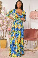 Plus Size Printed V Neck 3/4 Sleeve Sashes Maxi Dress XMY-9316