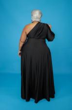 Plus Size Solid One Shoulder Irregular Maxi Dress XMY-9328