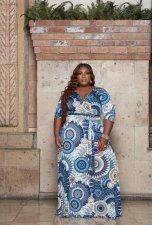 Plus Size Printed V Neck Sashes Maxi Dress XMY-9326