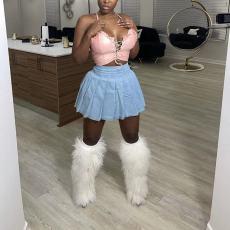 Plus Size Fashion Casual Denim Pleated Skirt OD-D8429