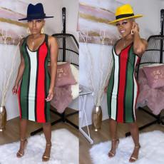 Sleeveless Color Striped Slim Dress FSXF-55