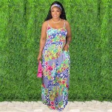Floral Print Spaghetti Strap Maxi Dress (With Headscarf) XMY-9306