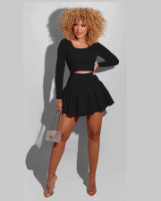 Solid Long Sleeve Pleated Culottes Mini Skirt 2 Piece Sets NYMF-248