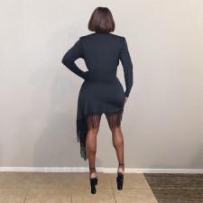Black Tassel Long Sleeve Irregular Sexy Dress OMMF-89801