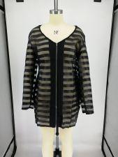 Plus Size Black See Through Long Sleeve Club Dress NK-8538