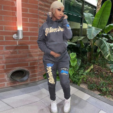 Letter Print Fleeced Hoodie And Pants 2 Piece Sets SH-390232