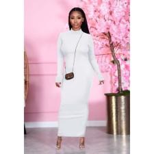Solid Color Backless Long Sleeve Maxi Dress NY-2034