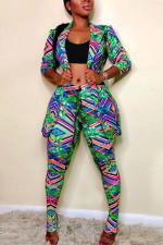 Plus Size Print Slim-fit Lapel Coat and Pants Two Piece Sets NY-8863