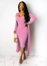 Sexy Long Cloak+Sling Midi Dress 2 Piece Sets NK-8520