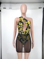 Sexy Printed Mesh Hollow Out Club Dress NK-8612