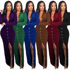 Solid Long Sleeve Ruched Split Slim Maxi Dress FSXF-F316